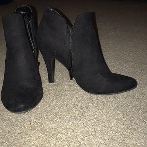 Black booties thin heel